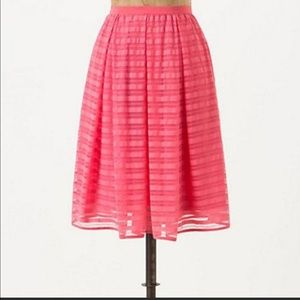Anthropologie Maeve Lawn Party Skirt Overlay Pink